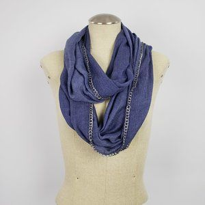 Vince Camuto Blue Chain Detail Circle Scarf